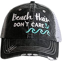 Katydid Beach Hair Don't Care Women's Distressed Grey Trucker Hat (Mint Waves)