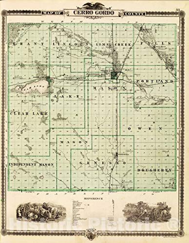 - Historic Map | 1875 Map of Cerro Gordo County, State of Iowa. | Vintage Wall Art | 18in x 24in