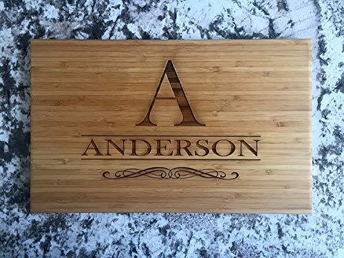 Personalized Gifts Couples Cutting Board - Wood Cutting Boards Bridal Shower, Housewarming, and Wedding Gifts (11 x 17 Single Tone Bamboo Rectangular, Anderson Design)