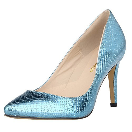 Womens Custom-Made PU Leather Alligator Pattern Slip On Bridesmaid Dress Pumps,Light Blue,7 D(M) US