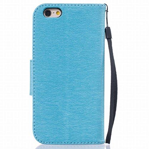 LEMORRY Apple iphone 6 6S (4.7) Funda Estuches Pluma Repujado Cuero Flip Billetera Bolsa Piel Slim Bumper Protector Magnética Cierre Standing Card Slot TPU Silicona Carcasa Tapa para iphone 6 6S (4.7) azul