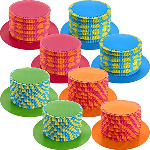 8 Pieces 11.6 Inch Party Hats Accordion Top Hats Fold Paper Hats for Costume Accessory Party Supplies -