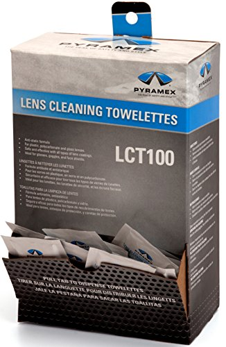 "Pyramex Individually Packaged Lens Cleaning Towelettes – 100 Pack – 8"" x 5"" Size – No - For Computer Monitor Goggles"