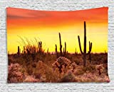 weed pictures - Nature Tapestry Saguaro Cactus Decor by Ambesonne, Eve Sky in Western Barren Land with Cactus and Weeds Around the Dry Earth Photo, Bedroom Living Room Dorm Wall Hanging, 80 X 60 Inches, Red Yellow