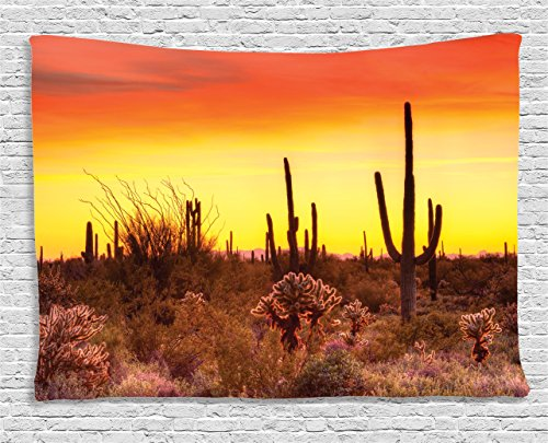 Ambesonne Nature Tapestry Saguaro Cactus Decor, Eve Sky in W