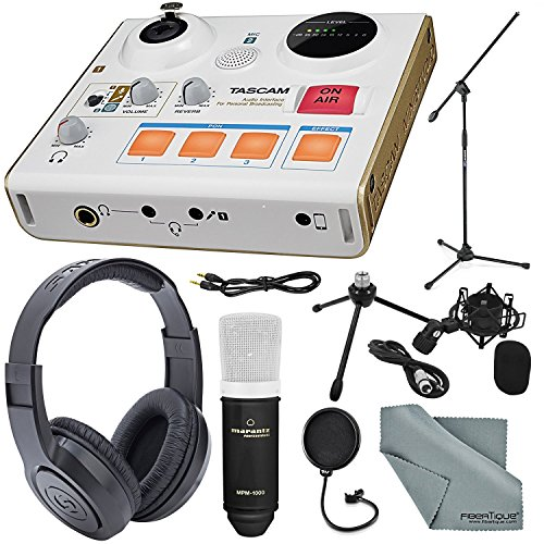 (Tascam US-32 MiniStudio Personal Audio Interface Online Podcast/Broadcasts and more W/Platinum Aux Cable + Stereo Headphones + Large-Diaphragm Microphone & Stand + Pop Filter + Fibertique Cloth)