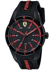 Ferrari Mens 0830245 REDREV Analog Display Quartz Black Watch