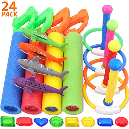 POKONBOY 25 Pack Diving Toys Underwater Swimming Pool Toys for Kids, Summer Fun Swimming Dive Toys with Super Foam Water Blaters, Diving Rings, Diving Sticks, Fishes and Under Water Treasures