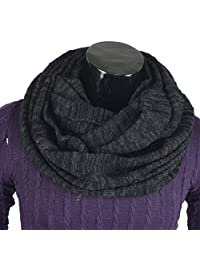 Men's Infinity Scarf Retro Knit Soft Warm Thick Neck Gaiter Winter Scarves CFE5001b-B (DGrey&Black)