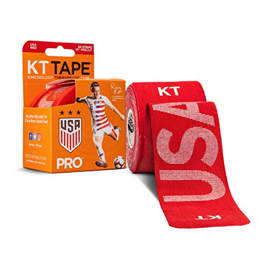 (KT Tape Pro Synthetic Kinesiology Sports Tape, Water Resistant and Breathable, 20 Precut 10 Inch Strips, USWNT Rose Lavelle USA Edition, Rage Red)