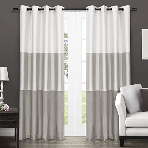 Exclusive Home Curtains Chateau Striped Faux Silk Grommet Top Window Curtain Panel Pair, Dove Grey, 54x96 (Striped Curtains Silk)