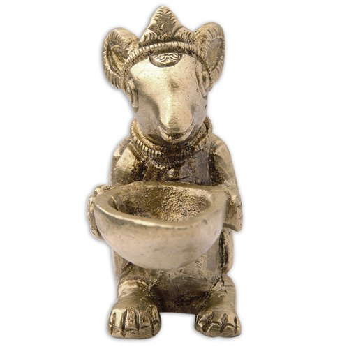 Mouse with Wick Lamp Religious Symbols in Hinduism Brass - Reindeer Brass Figurines
