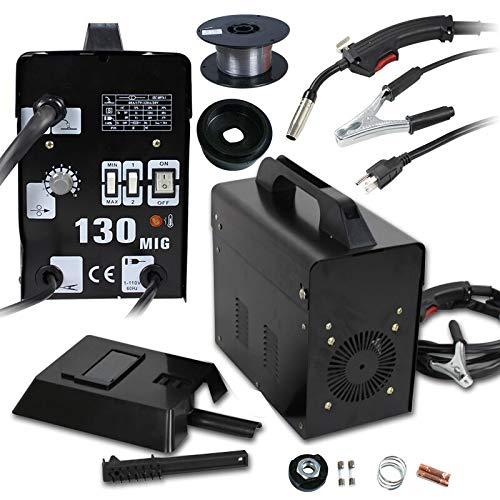 Lightweight, Powerful and Intuitive Gas-less Flux Core Wire Welder Welding Machine AC Current MIG 130 PRO Commercial Automatic Feed w/Free Mask 110V