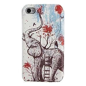 GONGXI-Patrón de elefante Caso de cuerpo completo con ventana para el iPhone 4/4S