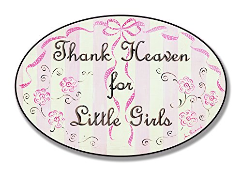 Products Oval Ribbon - The Kids Room by Stupell Thank Heaven for Little Girls Flowers and Ribbons Oval Wall Plaque