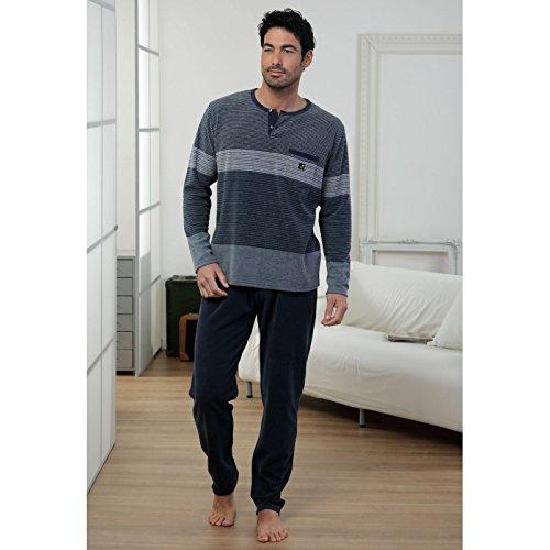 Massana - Pijama Hombre de terciopelo azul marino MASSANA Invierno - MARINO, XXL