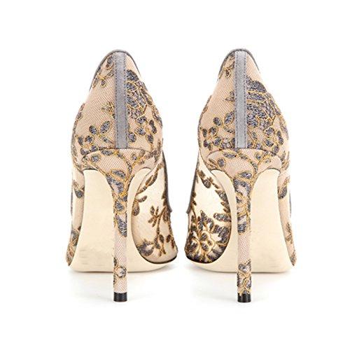 10cm Zapatos de Bordadas de Puntas de ZHANGYUSEN Tacones piel Lace Bridesmaid Boda Superficial Damas Zapatos Tacones Camarera Las Ahuecado la con El Up color 7n4P4qBg