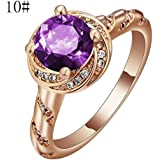 Pink Sapphire CZ Engagement Ring 18KT Rose Gold Filled Womens Jewelry Size 7-10 LOVE STORY (Purple Size 10)
