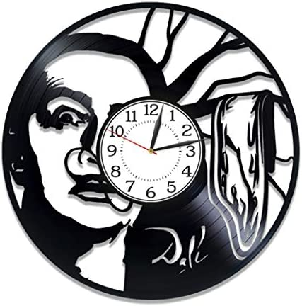 Kovides Salvador Dali Vinyl Clock 12 Inch Painter Birthday Gift Idea Salvador Dali Vinyl Record Clock Surrealist Art Handmade Clock Xmas Gift