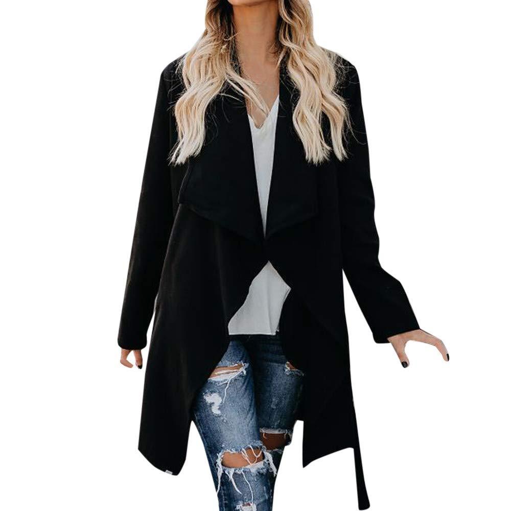 Womens Fashion Woollen Overcoat Autumn Winter Long Sleeve Keep Warm Solid Color Long Coat Outwear (Black, US:12