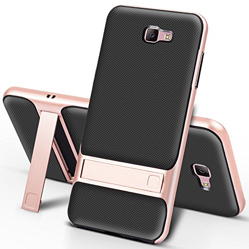 Galaxy J7 Prime 2016 Release (Only Fit G610 Series) Case,Galaxy on7 Case,Premium Leather Case with Stand Kickstand Holder [Metal Texture Side Buttons] Case for Galaxy J7 Prime (Rose) by DLHLLC