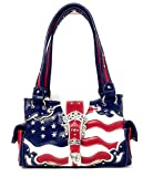 Western Concealed Carry Rhinestone American Flag Women's Handbag purse. (American Blue)