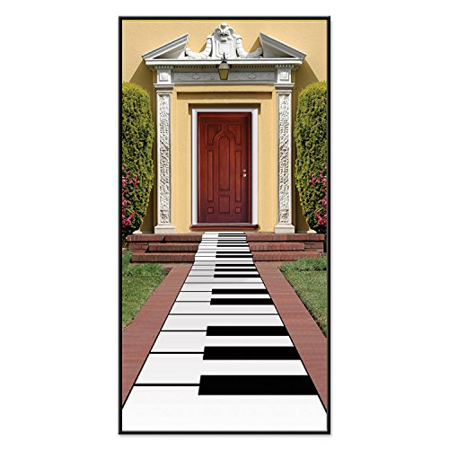 Beistle Piano Keyboard Runner, 24-Inch by 10-Feet, White/Black - Black White Costumes Themed Party