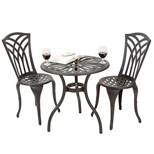 Stained Glass Silver Umbrella (Black Sand Aluminum Patio Furniture Outdoor Bistro Set)