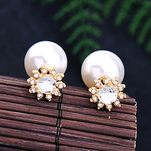 Ladies Double Sided 10 MM CZ /& 16 MM Pearl Candy Ball Earrings,18K Gold Plated Sun Flowers CZ Crystal Stud Post Earrings
