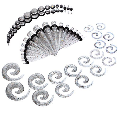 BodyJ4You Gauges Kit Glitter Spiral Tapers and Plugs 14G-00G Stretching Kit - 54 Pieces GK0302
