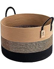 "Goodpick XXXLarge Cotton Rope Basket, Woven Storage Basket 21"" x 14"" Blanket Basket for Living Room Laundry Basket for Pillows Toys Decorative Clothes Hamper Wicker Basket with Long Handles, Black Jute Stripes"