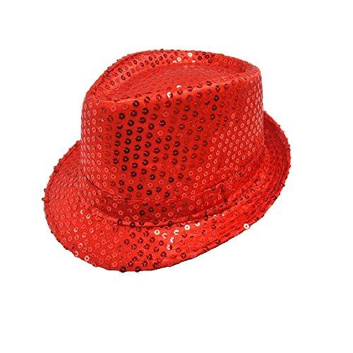 Hooyi Kids Bling Bling Show Dance Jazz Cap Costume Sequins Fedora Hat (Red)
