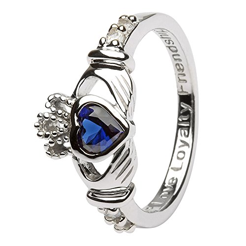 SEPTEMBER Birth Month Silver Claddagh Ring LS-SL90-9 - Size: 7 Made in Ireland. Irish Made Claddagh Ring