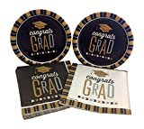 Congrats Grad Graduation Party Bundle with Dessert Paper Plates and Napkins for 16 Guests