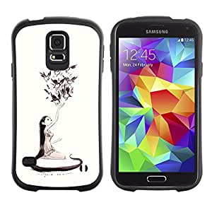 Be-Star Impreso Colorido Diseño Antichoque Caso Del Iface Primera Clase Tpu Carcasa Funda Case Cubierta Par Samsung Galaxy S5 SM-G900 ( nature love art girl birds long hair art drawing )