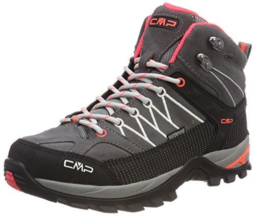 CMP Damen Rigel Mid Trekking-& Wanderstiefel Grau (Grey-Red Fluo 46ak)