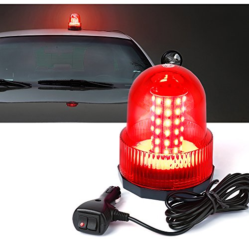 Xprite Super Bright Red Rotating Revolving LED Beacon Strobe Light,with Magnetic Mount, 60LEDs 15W Emergency Warning Caution Flashing Light for Snow Plow Truck UTV 12v (Rotating Police Beacon)