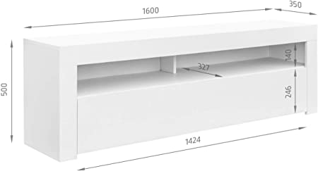 Comifort AP84B – Mueble TV Salón Moderno Mesa Televisión, Colores: Blanco, Blanco/Roble, Roble, Medidas: 160x35x50 Cm (Blanco)