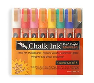 Amazon.com: Chalk Ink 6mm Classic Wet Wipe Markers, 8-Pack