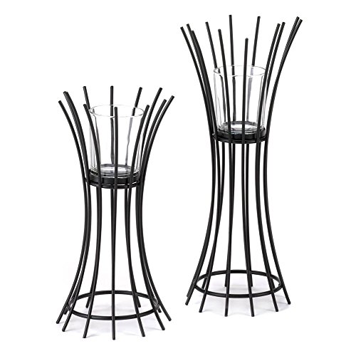 F.A. Decors Urban Black Iron Reeds Table Top Candle / Tea li