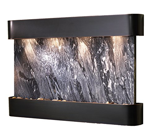 Sunrise Springs Water Feature with Blackened Copper Trim and Round Edges (Black SpiderMarble) (Water Springs Sunrise)