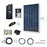 RENOGY 2700W Polycrystalline Cabin Solar Kit: 9 300W Poly Solar Panels (free upgrade to 310W) + 1 Midnite MPPT Controller + 3 Pairs of 40Ft MC4 Adaptor Kits + Combiner Box and 3 Breakers
