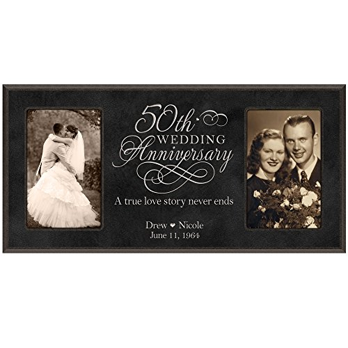 LifeSong Milestones 50th Anniversary Picture frame Gift Personalized with Couples names and anniversary dates Golden 2 4x6 photos(Black)
