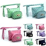 VIPASNAM-Women Wash Bag Hanging Waterproof Travel 3 Pcs/set Nylon Toiletries Makeup Bags(random color)