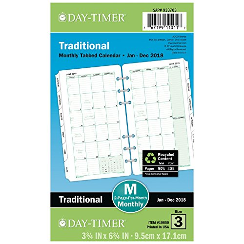 Day-Timer Refill 2019, Two Page Per Month Calendars, January 2019 - December 2019, 3-3/4