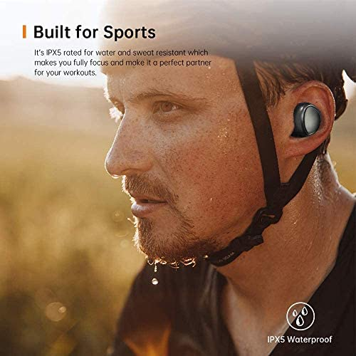 TRANYA T3-Pro Bluetooth 5.0 Wireless Earbuds IPX5 Waterproof TWS Stereo Headphones in Ear 6mm Driver Built in Mic Premium Sound with Deep Bass for Sport Black
