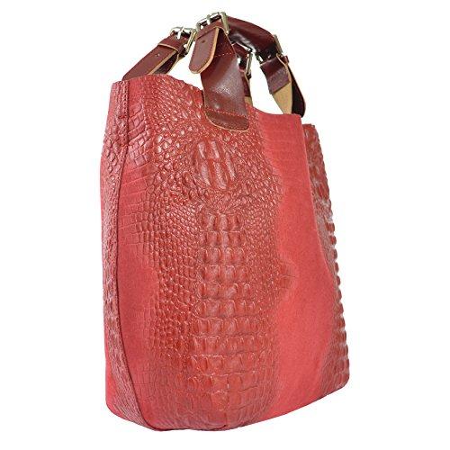 Bolsa Chicca La Hecha Ctm Hombro Y 44x30x13 Animalier El Piel Moda Mujer Rojo Con D90071 Italia Tela Patrón Extraíble En Genuina Tutto Cm Interior Cinturón De Bolso qHCqrf