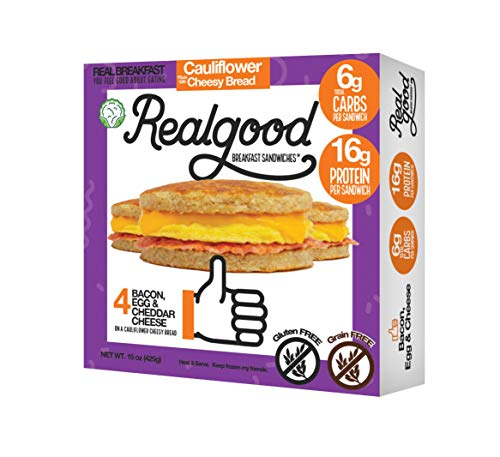 Real Good Foods, Low Carb - High Protein - Gluten Free - Bacon, Egg & Cheese Breakfast Sandwiches (20 per case) (Best Bacon Egg And Cheese Sandwich)
