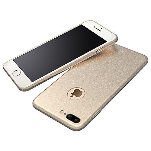 Anccer Funda iPhone 7 Plus Case [Serie Colorida] [Ultra Delgado] [Anti-Drop] ultrafin Premium Carcasa 5,5 pulgadas (Grava Negro) Grava Oro