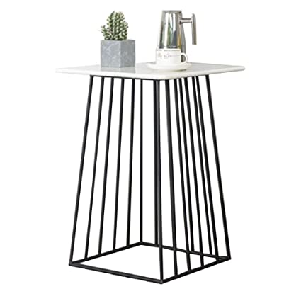 Amazon.com   ZHIRONG Square Marble Coffee Table Gold Metallic Wire Frame  Side Table End Table Corner Table 424261CM (Color : Black)   Tables